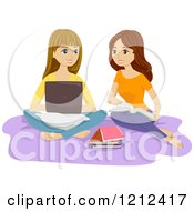 Cartoon Of Two Teenage Girls Studying With Books And A Laptop On A Bed Royalty Free Vector Clipart