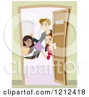 Cartoon Of Teenagers With Study Materials At A Door Royalty Free Vector Clipart by BNP Design Studio