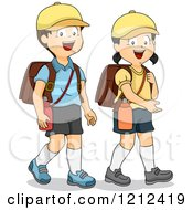 Cartoon Of Happy Asian Children With Hiking Backpacks Royalty Free Vector Clipart