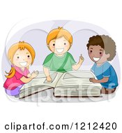 Cartoon Of Happy Diverse Children Rading A Giant Book Royalty Free Vector Clipart