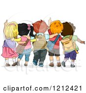 Cartoon Of A Rear View Of School Children Looking Up And Pointing Royalty Free Vector Clipart
