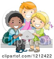 Cartoon Of A Diverse Group Of School Kids Using A Tablet Computer Royalty Free Vector Clipart