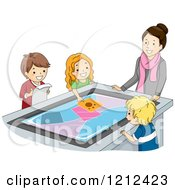 Cartoon Of A Teacher Watching Students Use An Interactive Table Royalty Free Vector Clipart