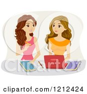 Cartoon Of Teen Girls Studying Together Royalty Free Vector Clipart