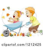Cartoon Of A Brother Pushing His Sister In A Wheelbarrow Through Fall Leaves Royalty Free Vector Clipart