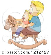 Cartoon Of Happy Blond Brothers Playing On A Rocking Horse Together Royalty Free Vector Clipart