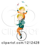Cartoon Of A Father And Son Juggling And Balancing On A Unicycle Royalty Free Vector Clipart