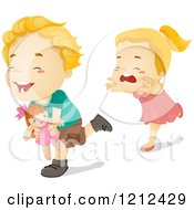 Cartoon Of A Girl Chasing Her Brother After Stealing Her Doll Royalty Free Vector Clipart