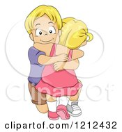 Cartoon Of A Big Brother Kneeling And Hugging His Little Sister Royalty Free Vector Clipart