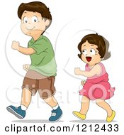 Cartoon Of A Little Sister Copying Her Brothers Walk Royalty Free Vector Clipart