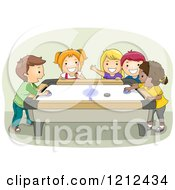 Cartoon Of A Group Of Happy Kids Playing Air Hockey Royalty Free Vector Clipart