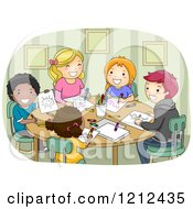 Cartoon Of Diverse And Different Aged Children Drawing Together Royalty Free Vector Clipart