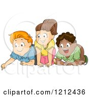 Cartoon Of Excited Diverse Children Looking Down Royalty Free Vector Clipart