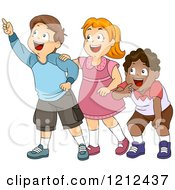 Cartoon Of A Group Of Happy Diverse Children Looking And Pointing Royalty Free Vector Clipart