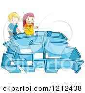Cartoon Of A Boy And Girl Entering A Maze Royalty Free Vector Clipart by BNP Design Studio