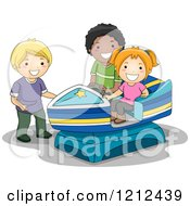 Cartoon Of Happy Children Playing On A Motor Boat Ride Royalty Free Vector Clipart