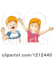 Cartoon Of Happy Red Haired Children Welcoming And Wanting Hugs Royalty Free Vector Clipart
