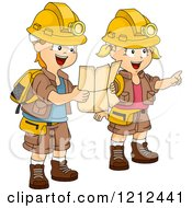 Cartoon Of A Boy And Girl In Adventure Girl Following A Map Royalty Free Vector Clipart