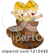 Cartoon Of A Boy And Girl Riding In A Mining Cart Royalty Free Vector Clipart