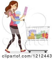 Cartoon Of A Happy Woman Grocery Shopping With Her Baby On Her Chest Royalty Free Vector Clipart