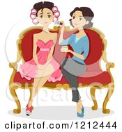 Cartoon Of A Woman Applying Makeup On A Beautiful Girl On Prom Night Royalty Free Vector Clipart by BNP Design Studio