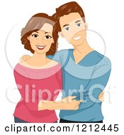 Cartoon Of A Happy Young Caucasian Man And His Mother Royalty Free Vector Clipart