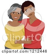 Cartoon Of A Happy Young African American Man And His Mother Royalty Free Vector Clipart