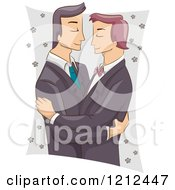 Cartoon Of A Male Same Sex Couple Embracing At Their Wedding Royalty Free Vector Clipart