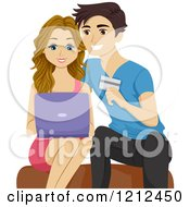 Cartoon Of A Happy Young Couple Using A Laptop And Shopping Online Royalty Free Vector Clipart