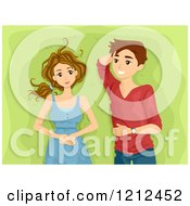 Cartoon Of A Happy Teen Couple Laying In The Grass Royalty Free Vector Clipart