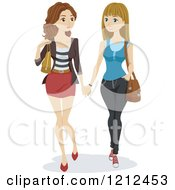 Cartoon Of Two Young Lesbian Women Holding Hands And Walking Royalty Free Vector Clipart