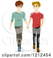 Cartoon Of Young Gay Men Walking And Holding Hands Royalty Free Vector Clipart