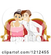 Cartoon Of A Happy Couple Wedding Shopping On Their Laptop Royalty Free Vector Clipart