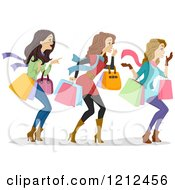 Cartoon Of Three Happy Women Carrying Shopping Bags And Looking To The Right Royalty Free Vector Clipart