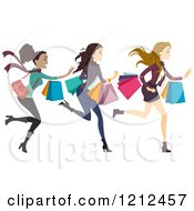 Cartoon Of Three Happy Diverse Women Running With Shopping Bags Royalty Free Vector Clipart