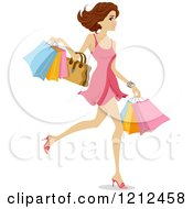 Cartoon Of A Happy Woman Walking With Shopping Bags Royalty Free Vector Clipart