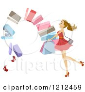 Cartoon Of A Stack Of Shoe Boxes Falling Out Of A Womans Arms Royalty Free Vector Clipart