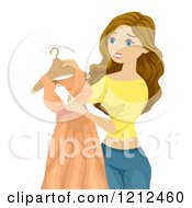 Cartoon Of A Teen Girl Looking At A Price Tag On A Dress Royalty Free Vector Clipart by BNP Design Studio