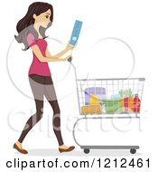 Cartoon Of A Happy Woman Reading A Shopping List And Pushing A Grocery Store Cart Royalty Free Vector Clipart