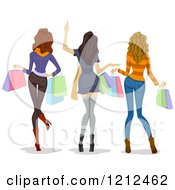 Cartoon Of A Rear View Of Three Happy Women Carrying Shopping Bags Royalty Free Vector Clipart