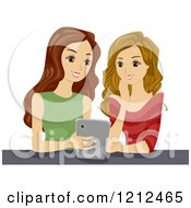 Cartoon Of Teen Girls Reading Something Amusing On A Tablet Computer Royalty Free Vector Clipart