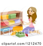 Cartoon Of A Woman Arranging Shoe Boxes On A Shelf Royalty Free Vector Clipart by BNP Design Studio