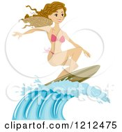 Cartoon Of A Happy Woman Surfing On A Wave Royalty Free Vector Clipart