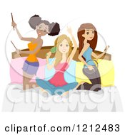 Cartoon Of Diverse Teen Girls Pretending To Be Musicians On A Bed Royalty Free Vector Clipart
