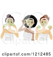 Cartoon Of Diverse Women With Cucumber And Face Masks At The Spa Royalty Free Vector Clipart