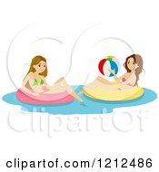 Cartoon Of Two Teen Girls On Inner Tubes In A Swimming Pool Royalty Free Vector Clipart