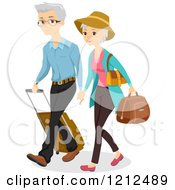 Cartoon Of A Senior Couple Traveling With Luggage Royalty Free Vector Clipart