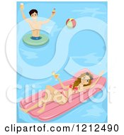 Cartoon Of A Young Couple Holding Cocktails And Having Fun In A Swimming Pool Royalty Free Vector Clipart by BNP Design Studio