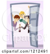 Cartoon Of A Group Of Teen Boys Opening A Door And Welcoming At A Party Royalty Free Vector Clipart
