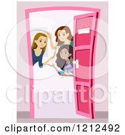 Cartoon Of A Group Of Young Women Opening A Door And Welcoming At A Party Royalty Free Vector Clipart